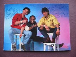 CPA CPSM GROUPE IMAGES Musiciens Chanteurs 1986 1990 CARTE Fan Club DEDICACEE DEDICACE AUTOGRAPHES Jean Louis & Frédéric - Chanteurs & Musiciens