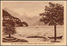 Lac De Lugano Et Castagnola, C.1930 - Propaga Luminosa Cartolina - TI Ticino
