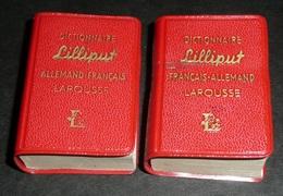 Rare Lot De 2 Anciens Livres Miniatures, Dictionnaire Lilliput LAROUSSE 1961 Allemand-Français/Français-Allemand - Dictionnaires