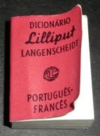Rare Ancien Livre Miniature, Dictionnaire Lilliput LAROUSSE 1960's Portugués-Francés Portugais-Français - Dictionaries