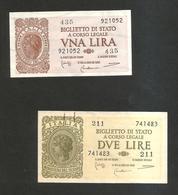 ITALIA - 1 & 2 LIRE ITALIA LAUREATA - (Firme: Bolaffi / Cavallaro / Giovinco - Decr. 23/11/1944) Lotto Di 2 Banconote - [ 1] …-1946 : Royaume