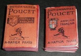 Rare Lot De 2 Anciens Livres Miniatures, Dictionnaire, Dictionnaires HATIER 1960's Français-Anglais/Anglais-Français - Dictionnaires