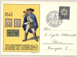 Schweiz - 1943 - 10c Pro Juventute - Tag Der Briefmarke - From Fribourg To Bern - Briefe U. Dokumente