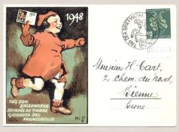 Schweiz - 1948 - 10c Pro Juventute - Tag Der Briefmarke - From Schaffhausen To Bern - Schweiz