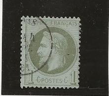 TIMBRE N° 25 -NAPOLEON III LAURE - 1 CENTIME BRONZE OBLITERE -TB - ANNEE 1870 -COTE : 25 € - 1863-1870 Napoleon III With Laurels