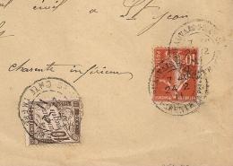 PAPIER D'AFFAIRE, TAXE 10C,  ST JEAN D'ANGELY Charente Inférieure Sur Enveloppe BEAUVAIS S MATHA - Lettres Taxées