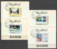Ras Al Khaima 1970 Einzelblocks Mi 471B-475B-483B-487B SPACE EXPLORATION - STAMP ON STAMP - Space