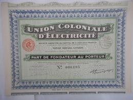 UNION COLONIALE D'ELECTRICITE              1931 - Afrika