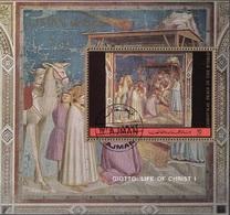 """Ajman 1972 Mi. Bf. 387A """"Vita Di Cristo : Adorazione Dei Magi"""" Affresco Dipinto Giotto Bondone Painting Tableaux Perf. - Quadri"""