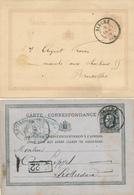 293/27 -  2 Cartes Postales Lion Couché Et Emission 1869 - Cachets Double Cercles BINCHE 1874/1876 - Entiers Postaux