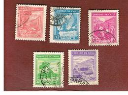 CILE (CHILE)  - SG 267.273 -  1938 VIEWS: 5 STAMPS OF THE CURRENT SERIE   -  USED ° - Cile