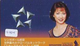 Télécarte  JAPON * SINGAPORE AIRLINES (2404) FEMME STEWARDESS * AVIATION * AIRLINE Phonecard JAPAN  AIRPLANE * FLUGZEUG - Avions
