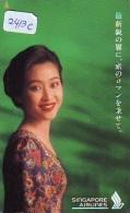 Télécarte  JAPON * SINGAPORE AIRLINES (2413c) FEMME STEWARDESS * AVIATION *AIRLINE Phonecard JAPAN  AIRPLANE * FLUGZEUG - Avions