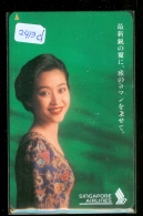 Télécarte  JAPON * SINGAPORE AIRLINES (2413d) FEMME STEWARDESS * AVIATION *AIRLINE Phonecard JAPAN  AIRPLANE * FLUGZEUG - Airplanes