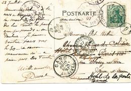 295/27 -  Carte-Vue Allemande TP Germania Adressée En 1907 En France Via Convoyeur , Puis BRUGES - 2 Cachets , Puis GAND - Germany