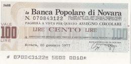 MINIASSEGNI ISSUED BY BANCA POPOLARE DI NOVARA, 100 LIRE, 1977, ITALY - [10] Chèques