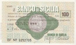 MINIASSEGNI ISSUED BY BANCO DI SICILIA, 100 LIRE, 1977, ITALY - [10] Chèques