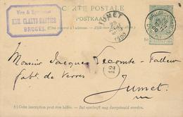 298/27 -  Entier Postal Armoiries BRUGES Station 1900 - Cachet Vins Et Spiritueux Claeys-Bartier - Entiers Postaux