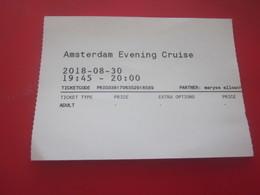 AMSTERDAM EVENING CRUISE Titre Transport-Tours & Ticket Billet D'EMBARQUEMENT A BORD DU BATEAU DE NUIT - Europa