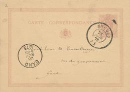 301/27 -  Origine Manuscrite ST ANDRE ( SINT ANDRIES) Sur Entier Postal Lion Couché BRUGES 1875 - Entiers Postaux