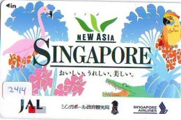 Télécarte  JAPON * SINGAPORE AIRLINES (2414) PAPAGAY * AVIATION * AIRLINE Phonecard JAPAN  AIRPLANE * FLUGZEUG - Avions