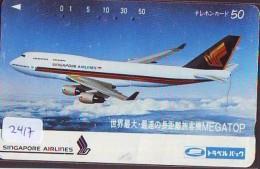 Télécarte  JAPON * SINGAPORE AIRLINES (2417)  AVIATION * AIRLINE Phonecard JAPAN  AIRPLANE * FLUGZEUG - Avions