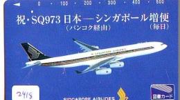 Télécarte  JAPON * SINGAPORE AIRLINES (2419)  AVIATION * AIRLINE Phonecard JAPAN  AIRPLANE * FLUGZEUG - Avions