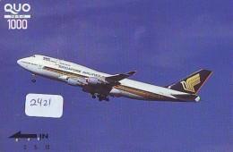 Télécarte  JAPON * SINGAPORE AIRLINES (2421)  AVIATION * AIRLINE Phonecard JAPAN  AIRPLANE * FLUGZEUG - Avions