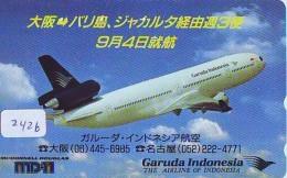 Télécarte  JAPON * GARUDA INDONESIA  (2426)  AVIATION * AIRLINE Phonecard JAPAN  AIRPLANE * FLUGZEUG - Avions
