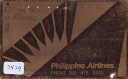 Télécarte  Doree JAPON * PHILIPPINE AIRLINES  (2429)  AVIATION * AIRLINE Phonecard JAPAN  AIRPLANE * FLUGZEUG - Airplanes