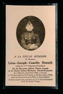 LEON DECOCK  - HELCHIN 1903  TOURNAI 1924 - Décès