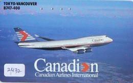 Télécarte  JAPON * CANADIAN AIRLINES  (2432)  AVIATION * AIRLINE Phonecard  JAPAN  AIRPLANE * FLUGZEUG - Avions