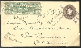 J) 1887 MEXICO, EXPRESS WELLS FARGO, 5 CENTS BROWN, CIRCULATED COVER, FROM MEXICO TO CALIFORNIA, POSTAL STATIONARY - Mexico