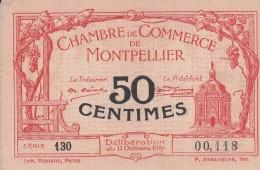 _ (34) Herault Montpellier .. Chambre De Cmmerce, Billet Necessite 50 Centimes .. 11 Octobre 1917 . Serie 130 .superbe - Chambre De Commerce