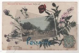 82 TARN & GARONNE - CP COLORISEE SOUVENIR DE VALENCE D'AGEN - SANS NOM D'EDITEUR - TAMPON A. C. M. ALAZARD AU DOS - 1906 - Valence