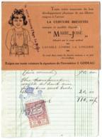 Carte Publicté + Facture Avec Timbre. Corseterie Marie-Josée, Schaerbeek, Avenue Louis Bertrand. 1922. - Belgique