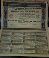 Rare Action Cent Francs Au Porteur Société Bretonne Mines De Pontpéan - Mines
