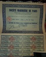 Rare Action Au Porteur De 3000 Francs Société Marbriere De Paris - Industrie