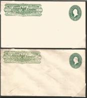 J) 1886 MEXICO, EXPRESS WELLS FARGO, 2 CENTS WASHINGTON GREEN, VARIETY OF COLORS, SET OF 2 POSTAL STATIONARY, XF - Mexico