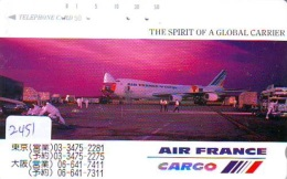 Télécarte  JAPON * AIR FRANCE (2451) * AVIATION * AIRLINE Phonecard  JAPAN AIRPLANE * FLUGZEUG - Avions