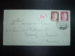 LETTRE Pour La FRANCE TP 15 + TP 10 OBL.5-4 43 GEISLINGEN + CENSURE - Marcophilie (Lettres)