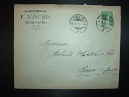 LETTRE TP 5 OBL.29 XII 10 AMBULANT + FABRIQUE D'HORLOGERIE P. DUVOISIN GENEVEYS-S/COFFRANE - Svizzera
