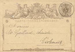 306/27 - Entier Postal No 1A Ou 2 Cachet Double Cercle MARBAIS 1872 - Cachet Aug. Dumont à CHASSART - Entiers Postaux
