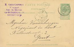 307/27 - Entier Postal Armoiries NINOVE 1908 Vers GENT - Cachet Cosyn-Courteaux , Menuisier , Fabricant De Meubles - Entiers Postaux