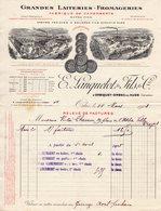 Facture à Entete : E.LANQUETOT & Fils Grandes Laiteries Fromageries ORBIQUET ORBEC Calvados 1908 - Food