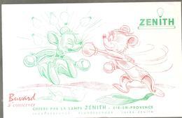 Buvard ZENITH Lampe ZENITH Combat De Boxe Entre Deux Souris - Electricité & Gaz