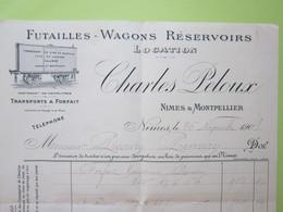 Facture Document - FUTAILLES - WAGONS RESERVOIRS, CHARLES PELOUX à NÎMES (30) Pour PREMERY (Nièvre) 26/11/1901 - France