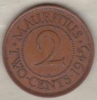 Ile Maurice , 2 Cents 1945 , George VI - Maurice