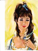 Jeune Fille à L'oiseau Bleu, Portrait Signé Illisible Ed.Yvon 1960 Environ - Portraits