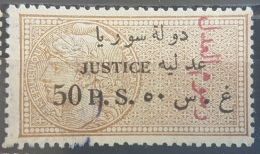 BB1 - Syria 1930 Notarial Revenue Stamp - 50p Bistre Justice Overprinted In RED Notarial Fee, Ovpt At Right - Syrie